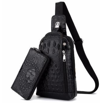 Bộ túi xách và ví tiền vân da cá sấu cao cấp (Đen)