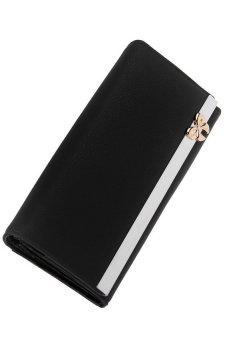 HKS Women Bowknot Design Large Clutch Bifold Wallet Card Hold Black - intl