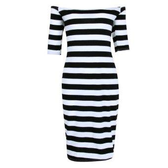 Striped Half Sleeve Shoulder Off Bodycon Slim Dress(Black) - INTL