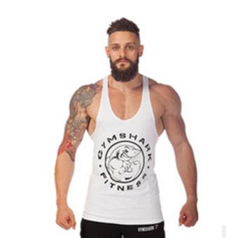 Moonar Men Gym Muscle Sleeveless Shirt Tank Top Sport Bodybuilding Shark Fitness H-back Vest (White) - intl