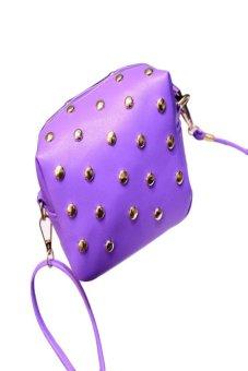 HKS Fashion Women Cute Messenger Bags Rivet Shoulder Bag Leather Crossbody Purple - intl