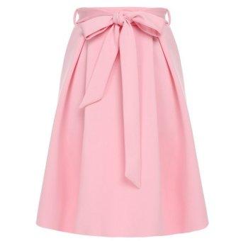 Cyber FINEJO Women Fashion Casual Slim A-Line Bowknot Pleated Skirt (Pink) - Intl