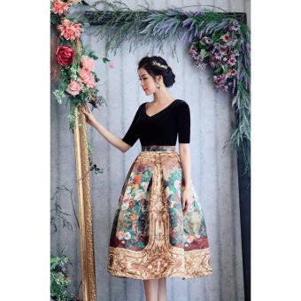 Đầm Xòe Tay Lỡ Họa Tiết Sơn Dầu Cao Cấp