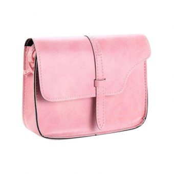 Bluelans Women Faux Leather Messenger Shoulder Bag Satchel Tote Handbag (Pink) (Intl)