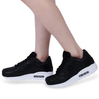 Casual Paillette Design Patchwork Lace Up Sports Shoes(Black) - intl