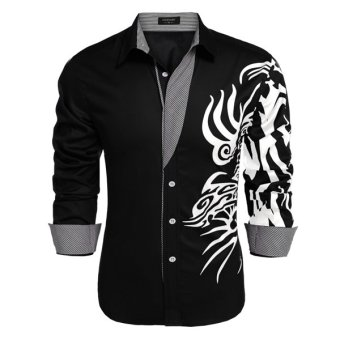 Cyber COOFANDY Men Long Sleeve Turn Down Neck Print Loose Tops Casual Loose Cotton Button Down Shirts(Navy Blue) - Intl