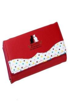 HKS Women Cat Pattern Long Purse Checkbook Money Clutch Wallet (Red) - intl