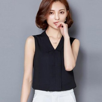 Fashion Stylish Ladies Chiffon Sleeveless T-shirt V-neck Office Lady Professional Tops Short Blouse- black - intl