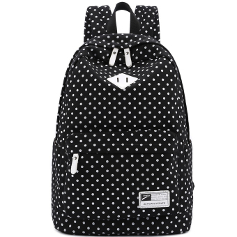 Cute Polka Dot Women Canvas Backpack Satchel Rucksack Schoolbag Leisure Travel Shoulder Bag Black - Intl
