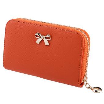 Lady Solid Color Bowknot Embellishment Leather Wallet (Orange) - intl