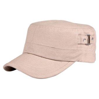Casual Cotton Cloth Flat Top Cap Khaki