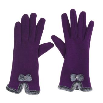 Women Touch Screen Mittens Sheep Wool Winter Bowknot Glove (Purple) - intl