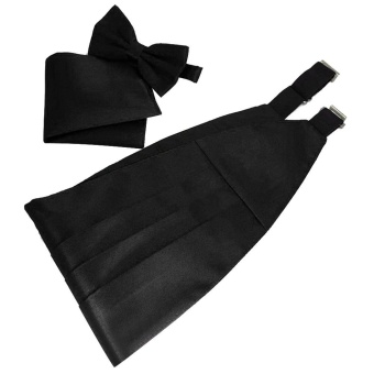 Men Satin Cummerbund Bowtie Hanky Handkerchief Set with Gift Box for Wedding Musical Band Graduation Celebration Black - intl