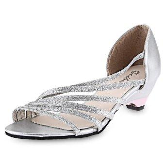 Open Toe Sequins Strap Side Empty Low Heel Sandals For Women(Silver) - intl