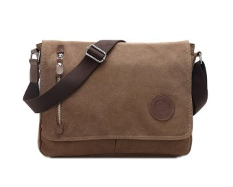niceEshop Men Vintage Canvas Schoolbag Shoulder Messenger Bag (Coffee)