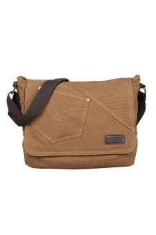 Men Boy Cotton Canvas Casual Shoulder Bag Crossbody Messager Bag Tablet PC Carry Bag Travel School Bag Coffee