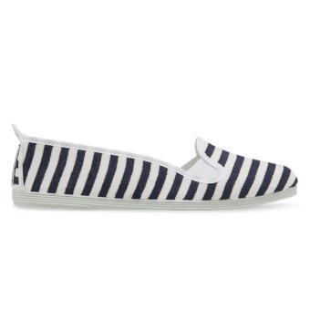 Giày Lười Flossy Santona (Trắng sọc Navy)
