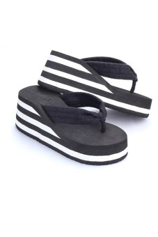80621-4 Women Fashion Platform Flip Flop(Black) - intl