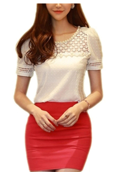 Moonar Short Sleeve Lace Hollow Out Elegant T-Shirt Top (White) - Intl