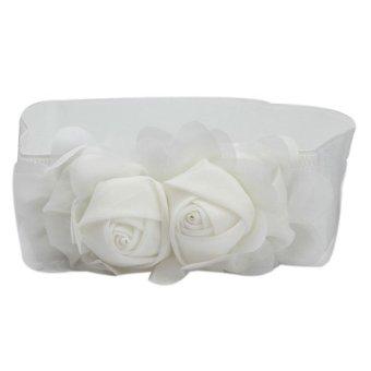 Fashion Double Rose Flower Buckle Elastic Waist Belt Lady Waistband White