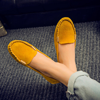 Womens Moccasin Suede Slip On Flat Loafers Ladies Casual Ballerina Ballet Shoes Yellow - intl