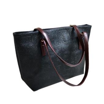 Simple Winter Larger Capacity Leather Women Bag Messenger Black - Intl