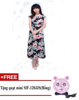Đầm maxi hoa lá cách điệu Korea Zaskin ZA01D1 (Đen) + Tặng quạt mini shinil SIF-120JJS (Hồng)