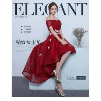 Đầm Xòe Đuôi Tôm Trễ Vai Đính Hoa Eo (đỏ)