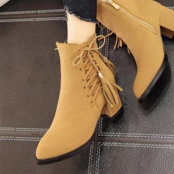 Giày boot nữ cổ ngắn da bò sành điệu GBN14802