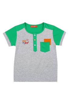 Áo thun bé trai tay ngắn V.T.A.Kids BT41104XX (Xám phối xanh)