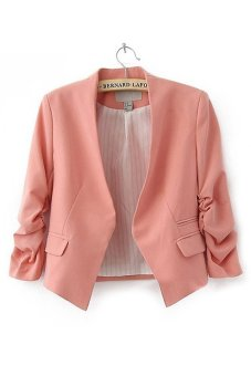 Cyber Women OL Style Candy Color Thin Suit Outerwear 3/4 sleeve Coat Casual Blazer Pink