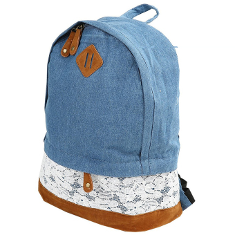 Denim Backpack Satchel Schoolbag Leisure Travel Shoulder Bag Dark Blue - Intl - intl