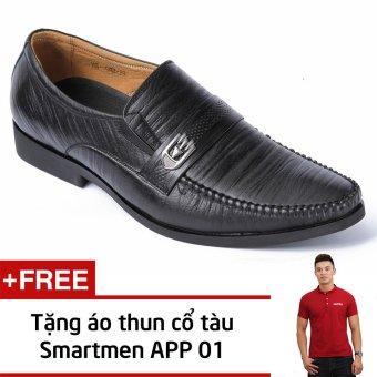 Giày Da Công Sở Smartmen GL-042 (Đen) + Tặng Áo Thun Nam