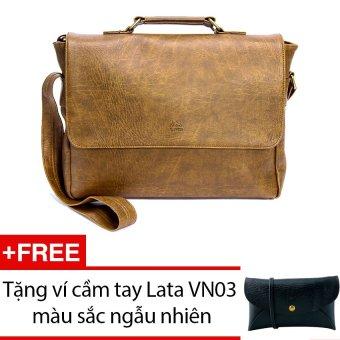 Cặp nam Lata CA12 (Da bò nhạt) + Tặng 1 ví cầm tay Lata VN03