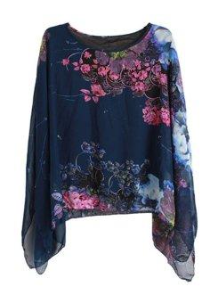 LALANG Big Print Shirt Blue - Intl