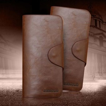 Luxury Mens Leather Long Wallet Pockets ID Card Clutch Bifold Purse Coffee - intl