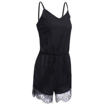 Cyber Finejo V-neck Sleeveless Backless Elastic High Waist Lace Patchwork Short Romper Jumpsuit (Black) - Intl - Intl