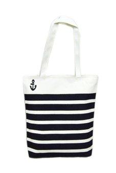 HKS Canvas Black Anchor Pattern Shopping Shoulder Bags Women Handbag Beach - intl
