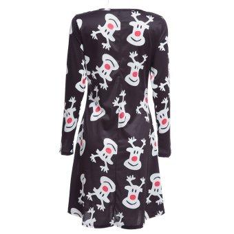 Jewl Neck Long Sleeve Deer Print A-Line Women Swing Dress Black - Intl