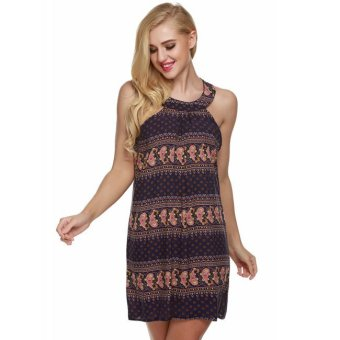 Cyber ACEVOG Sleeveless Floral Summer Beach Casual Mini Dress (Dark Blue) - Intl - Intl