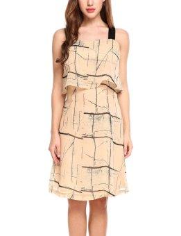 Sunweb Women Fashion Sleeveless Wide Strap Ruffled A-Line Chiffon Short Dress ( Khaki ) - intl