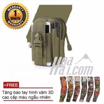 Túi đeo hông chiến thuật quân đội HOAHAI.COM (xanh) + Tặng bao tay hình xăm 3D cao cấp