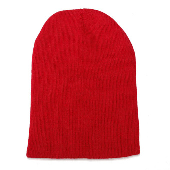 Unisex Knitted Plain Beanie Hiphop Cap Skull Cuff Winter Hat Crochet Solid Color red - Intl