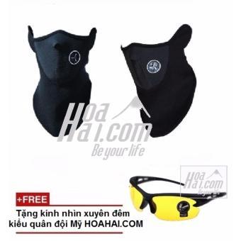 Khẩu trang ninja đi phượt (đen) + Tặng kèm kính nhìn xuyên đêm