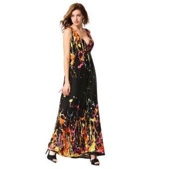 Cyber Stylish Lady Women's New Fashion Bohemia Sexy Sleeveless V-neck Print Maxi Long Dress(Orange) - Intl