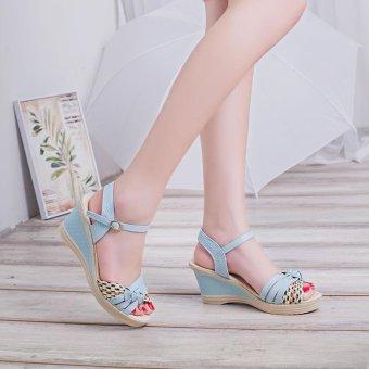 Bohemia Women's Heel Wedge Sandals Heavy-bottomed Peep-toe Platform Sexy Dating Ankle Strap Sandals - intl