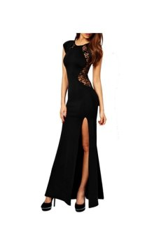 Women Lace & Knitting Patchwork Solid Slim Slit Open Long Dress Black - Intl