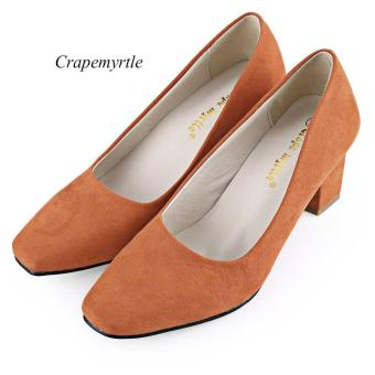 Crapemyrtle Casual Solid Color Square Toe Slip On Ladies Rough Heels Shoes - intl