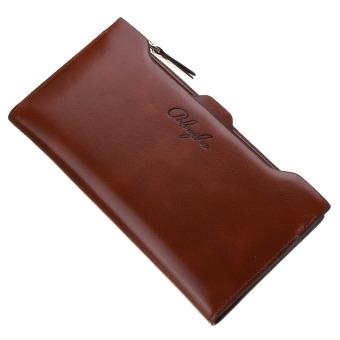 Leather Card Holder Zip Clutch Bag Long Handbag Wallet Dark Coffee (Intl)