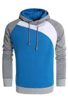 Cyber Coofandy Men's Warm Contrast Color Hooded Slim Pullover Hoodies (Blue) - Intl